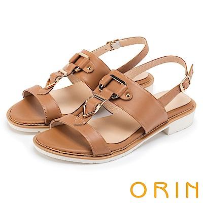 ORIN 夏日簡約時尚 皮帶釦環牛皮低跟涼鞋-棕色