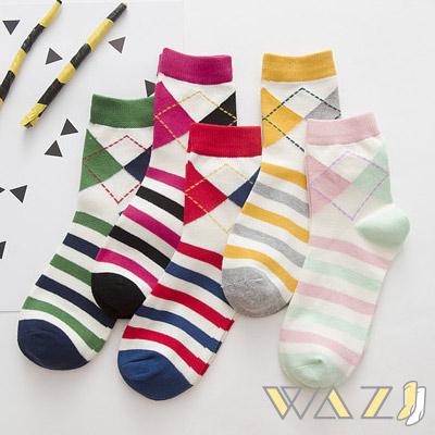 Wazi-小清新菱格條紋中筒襪 (1組四入)