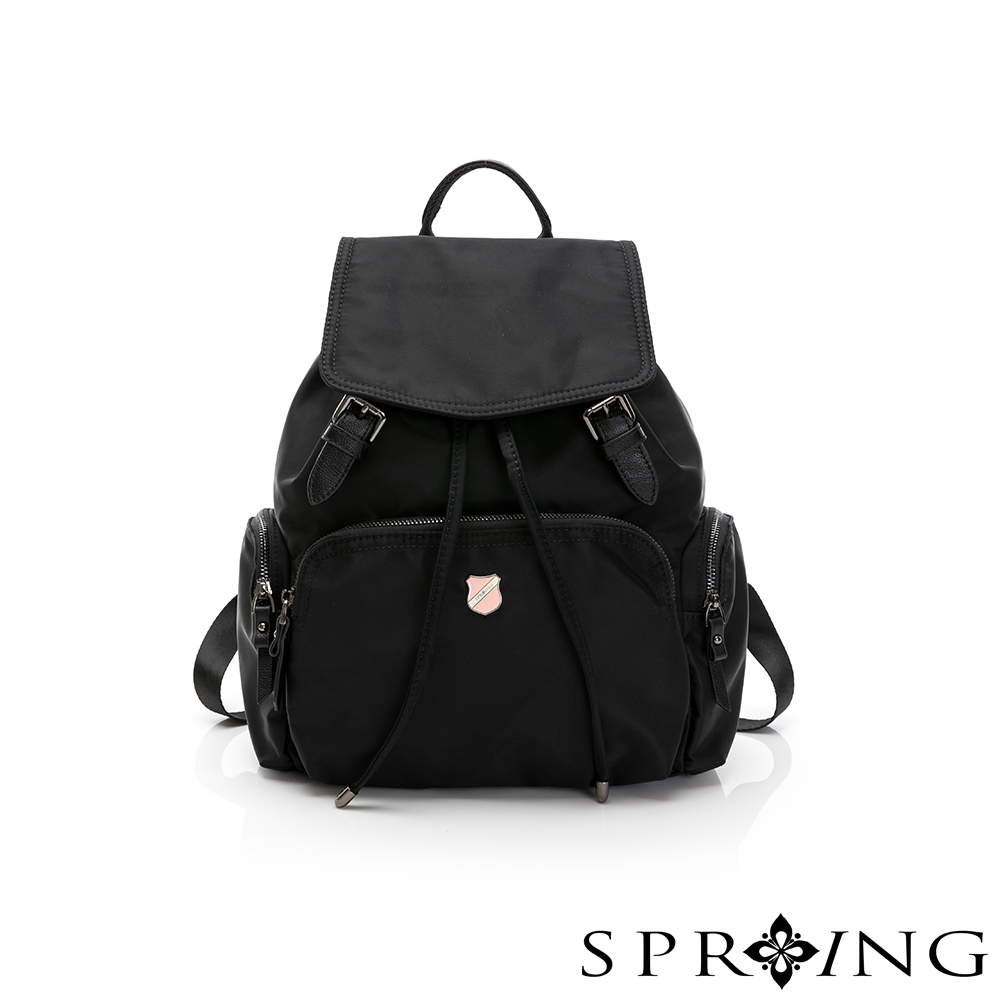 SPRING-未來質感系列尼龍多收納束口後背包-經典黑