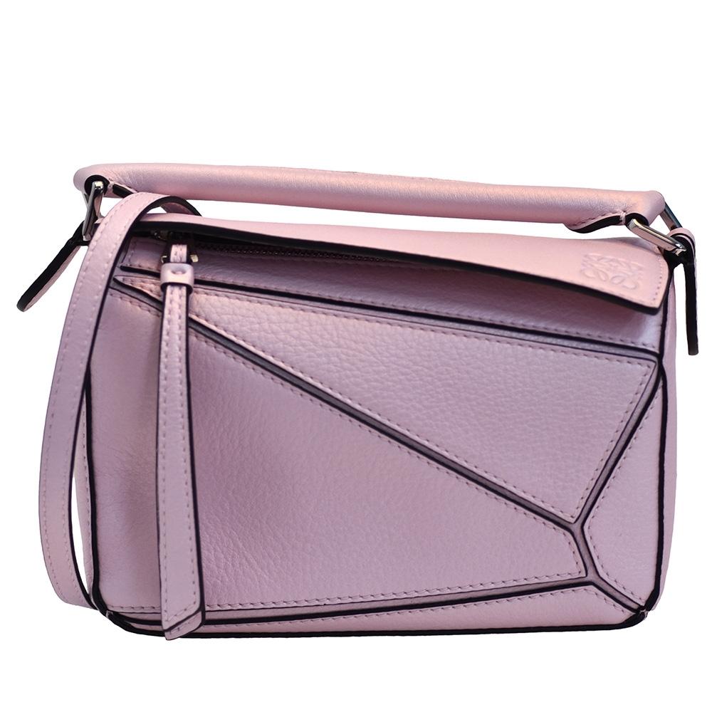 LOEWE PUZZLE BAG系列小牛皮幾何拼接設計手提/斜背包(迷你-粉紅色)