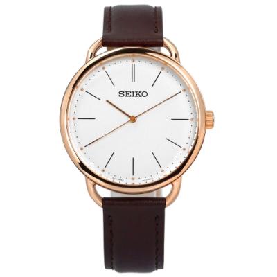 SEIKO 精工 極簡 礦石強化玻璃 防水 牛皮手錶-白x玫瑰金框x深褐/38mm