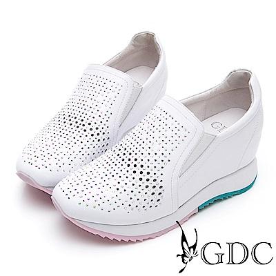 GDC-基本簡約質感氣質真皮沖孔洞洞素面內增高休閒鞋-白色