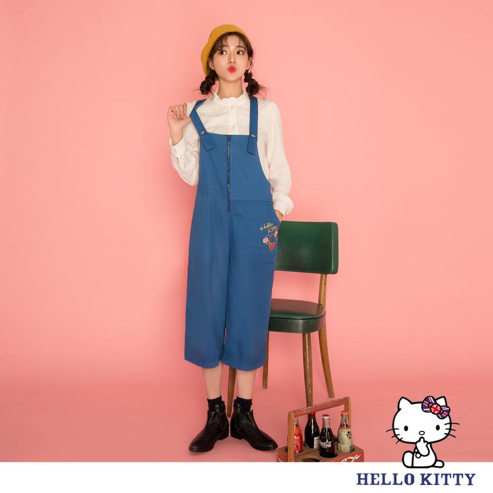英倫系列~KITTY印花前拉鍊設計寬版七分連身褲-OB大尺碼 product image 1
