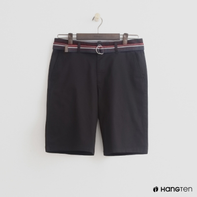 Hang Ten - 男裝 - 帆布腰帶造型西裝短褲-黑