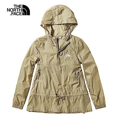 The North Face北面女款卡其色印花防潑水可收納式風衣外套|3V4ZPLX