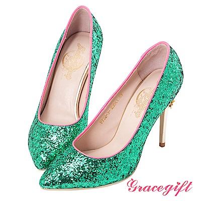 Grace gift-美少女戰士變身器碎石高跟鞋 綠