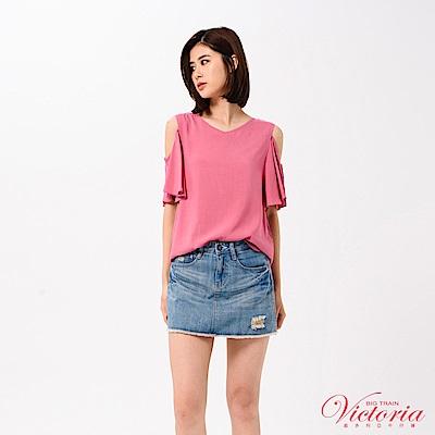 Victoria 波浪荷葉袖挖肩短袖T-女-梅粉