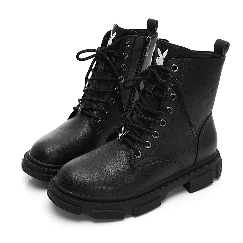 PLAYBOY 黑潮魅力經典仿皮短靴-黑-Y5836CC