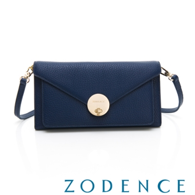 ZODENCE Traveler系列義大利牛皮可拆式轉扣兩用包 藍