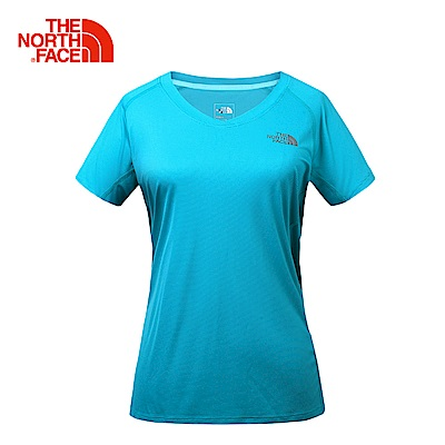 The North Face北面女款綠色吸濕排速乾短袖T恤   3GEKEY3