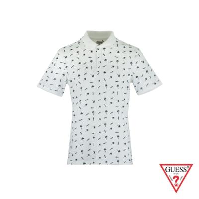 GUESS-男裝-滿版椰子樹印花短袖POLO衫-白 原價1490
