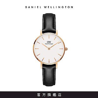 DW 手錶 官方旗艦店 28mm玫瑰金框 Classic Petite 爵士黑真皮皮革錶