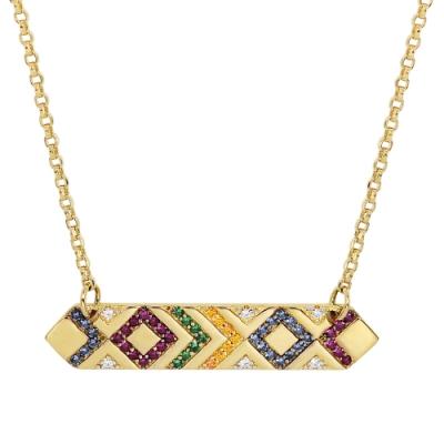 apm MONACO法國精品珠寶 閃耀多彩晶鑽金色幾何造型可調整長項鍊
