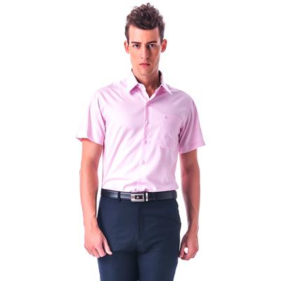 【金安德森】 經典格紋繞領粉色窄版短袖襯衫fast