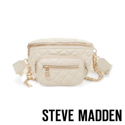 STEVE MADDEN-BSUBMIT 低調內斂金屬鍊條菱格母子個性腰包-米色