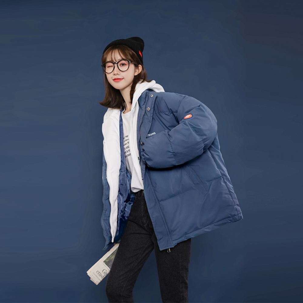 撞色連帽抽繩搭棉衣保暖外套S-2XL(共四色)-WHATDAY (藍色)