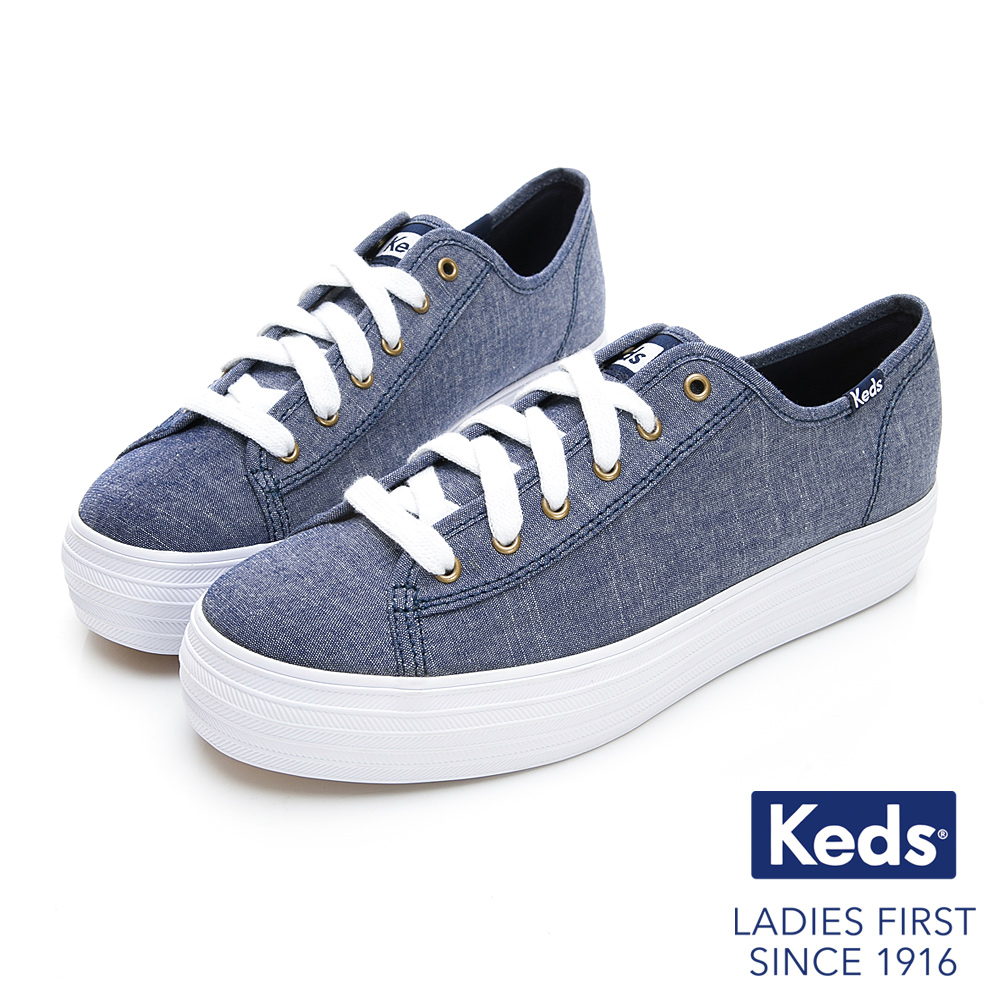 Keds TRIPLE KICK 輕薄厚底帆布鞋-藍色