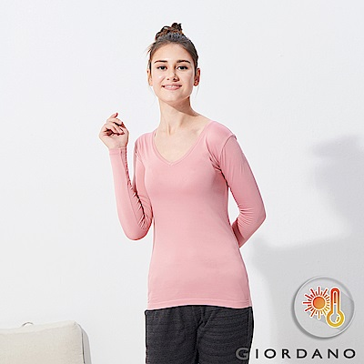 GIORDANO 女款Beau-warmer plus 彈力V領極暖衣-71 粉紅