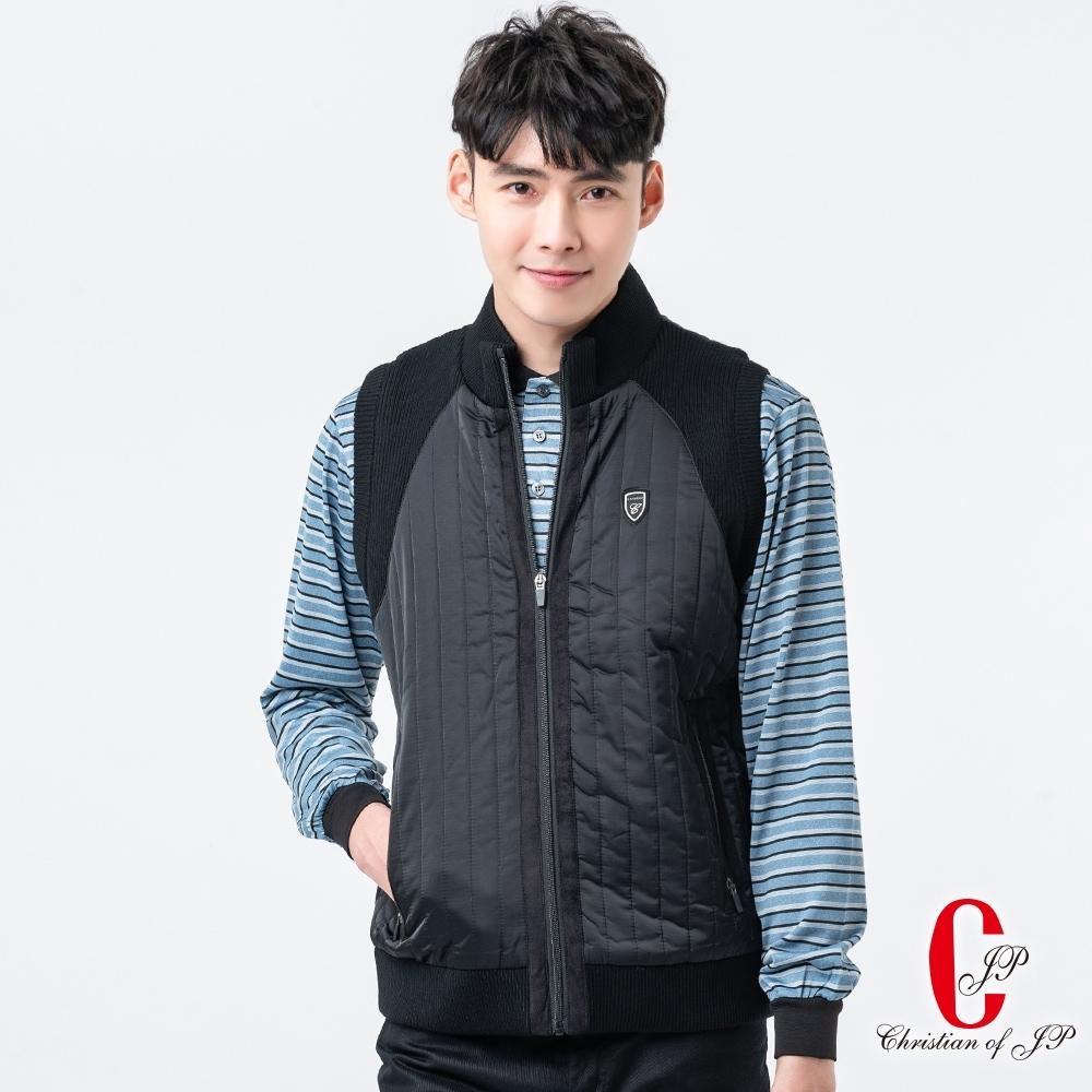 Christian 時尚立領鋪棉背心_黑(JW607-88)