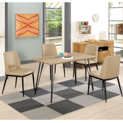 MUNA 比爾4尺餐桌(1桌4椅)泰特(駝色皮)餐椅 120X70X75.5cm