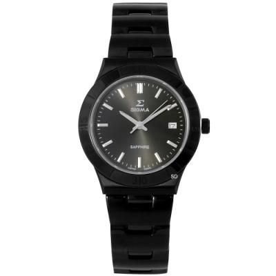 SIGMA 簡約藍寶石時尚手錶女錶-黑/34mm