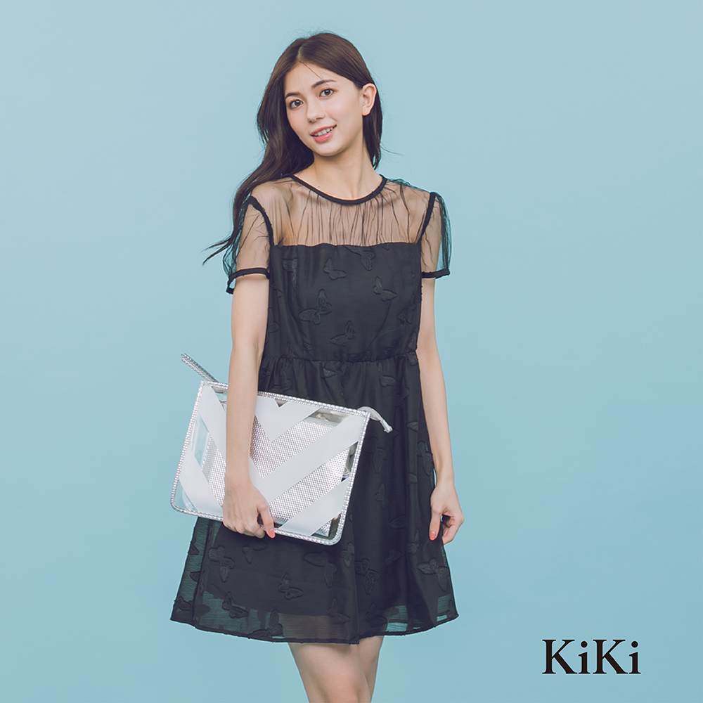 【KiKi】名媛蝴蝶刺繡小禮服-洋裝(黑色)