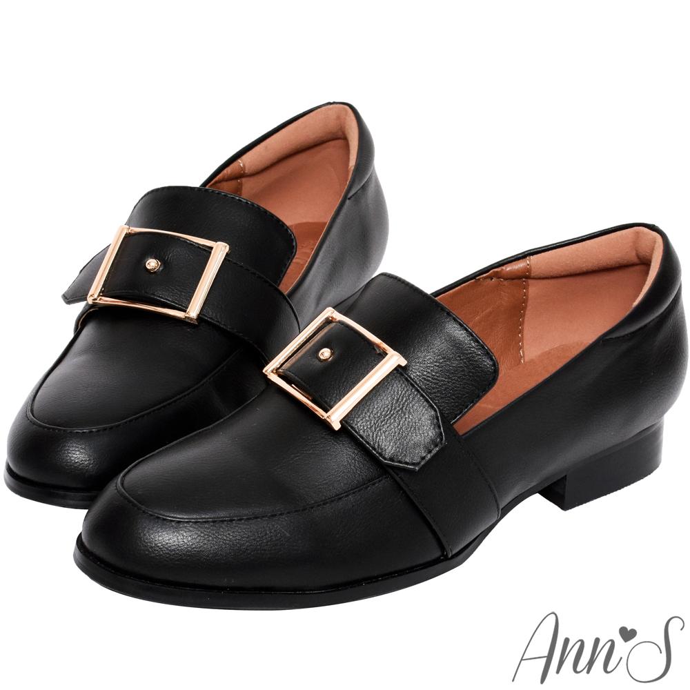 Ann'S適度文青-金色方扣皮革紳士鞋-黑