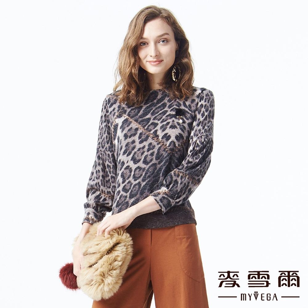 麥雪爾 豹紋印花圖案造型上衣-咖啡