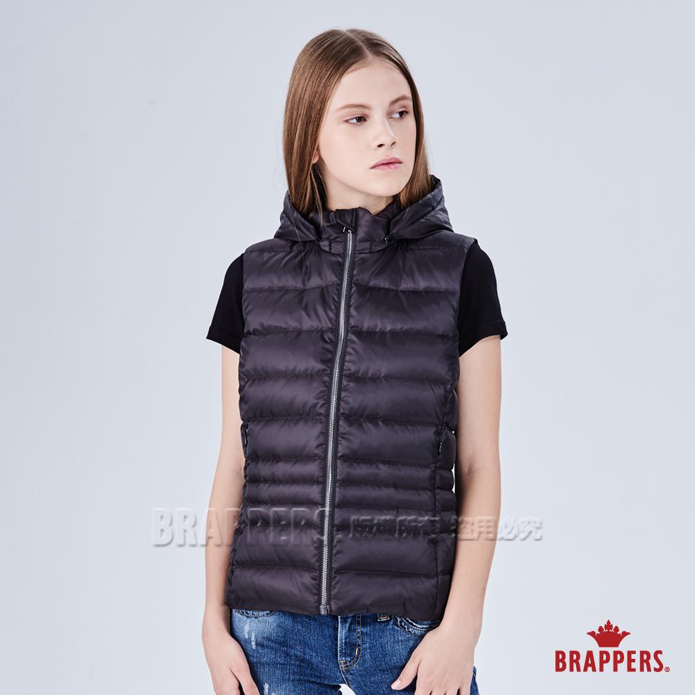BRAPPERS 女款 可拆式連帽修身羽絨背心-黑