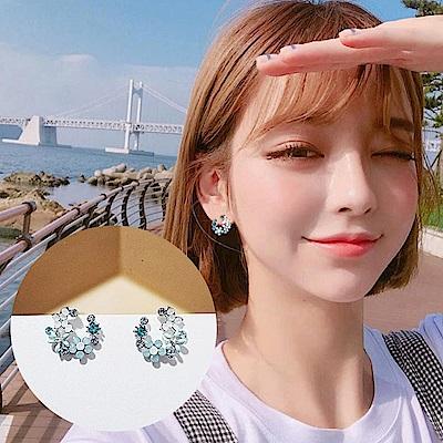 梨花HaNA 無耳洞韓國半月花飾珠寶花園呢喃耳環夾式
