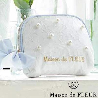 Maison de FLEUR 珍珠緞帶零錢包