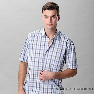 ROBERTA諾貝達 台灣製  進口素材 休閒 純棉格紋短袖襯衫 藍色
