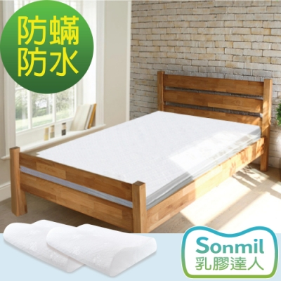 Sonmil乳膠床墊 單人3尺6cm乳膠床墊+乳膠枕(2入)超值組-防蟎過敏防水透氣型