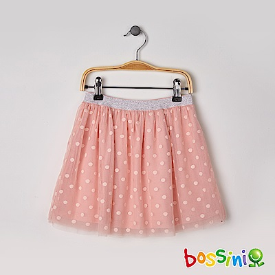 bossini女童-網紗短裙粉橘
