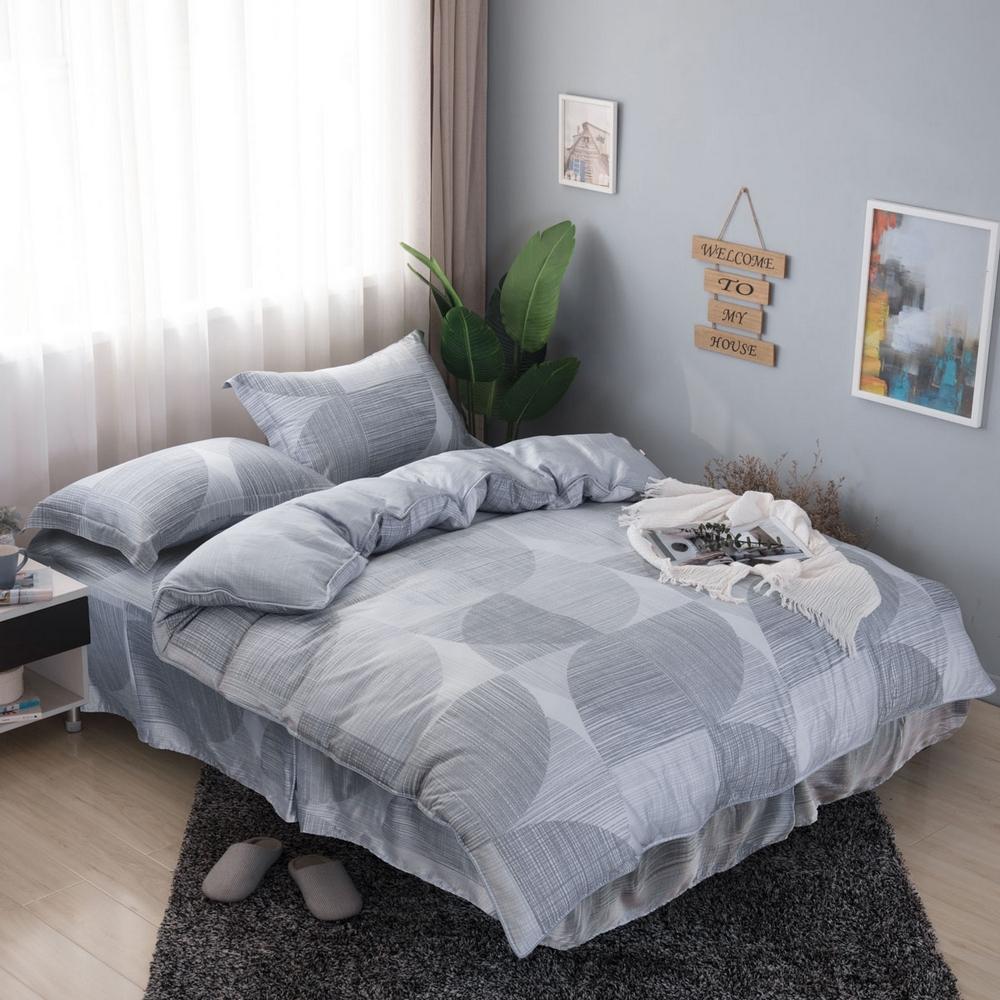 夢工場淺淺微影40支紗萊賽爾天絲四件式鋪錦床罩組-特大