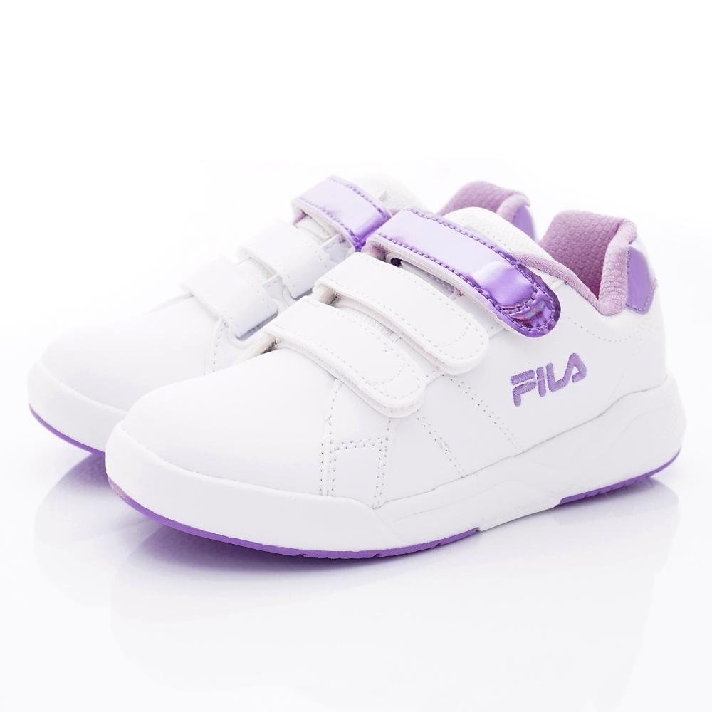 FILA頂級童鞋 韓系復古鞋款 EI10T-199白紫(中大童段)