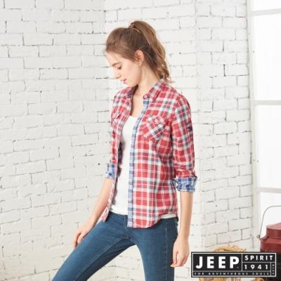 JEEP 女裝 雙層格紋長袖襯衫-紅格紋