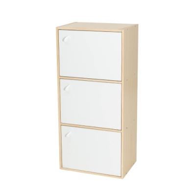 樂嫚妮 三層櫃/附門書櫃/三格櫃/書櫃/置物櫃/收納櫃-木紋色櫃體-寬41.8深30高90.1cm