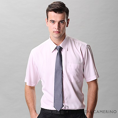ROBERTA諾貝達 台灣製 吸濕速乾 簡約條紋短袖襯衫 粉色