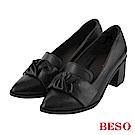BESO 個性品味 蝴蝶結尖頭樂福粗跟鞋~黑