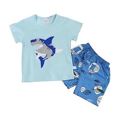鯊魚印花短袖套裝 k51126 魔法Baby