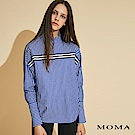 MOMA 小立領條紋拼接襯衫