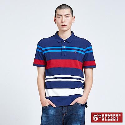 5th STREET 拼色條紋POLO衫-男-丈青