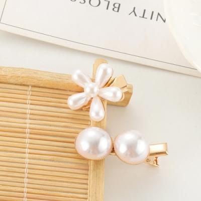 Hera 赫拉 精巧一字夾創意珍珠髮夾-2入一組