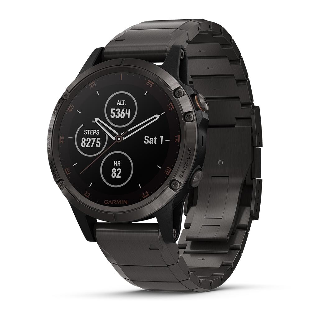 GARMIN fenix 5 Plus 行動支付音樂GPS複合式心率腕錶 石墨灰-鈦