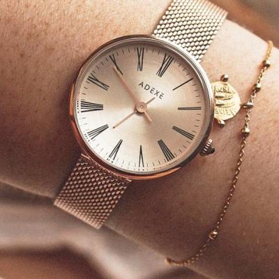 ADEXE 英國手錶 MINI SISTINE羅馬刻度 玫瑰金色錶盤錶框米蘭錶帶30mm