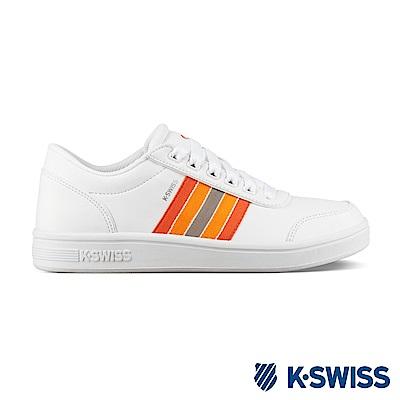 K-SWISS Court Clarkson S SE時尚運動鞋-女-白/橘