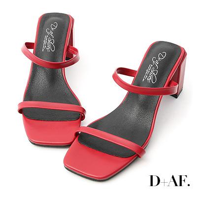 D+AF 時尚限定.雙細帶方頭高跟涼鞋*紅