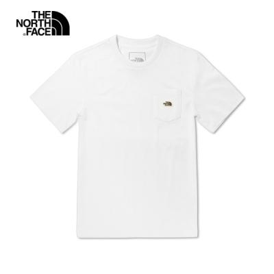 The North Face北面男女款白色胸前口袋短袖T恤|4U93FN4