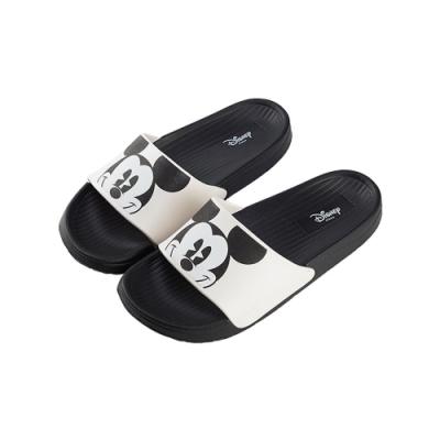 迪士尼親子鞋 米奇 大頭男段休閒拖鞋-白黑